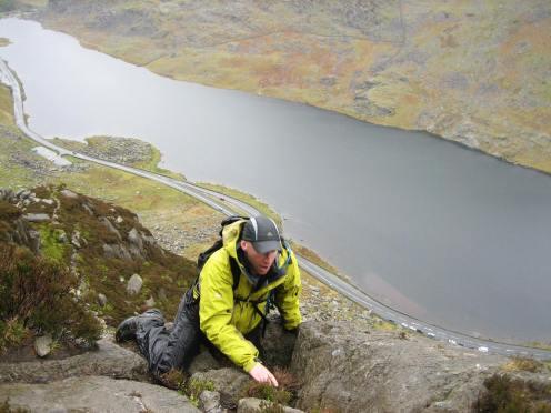 Scrambling on Tryfan North Ridge (1) in Wales